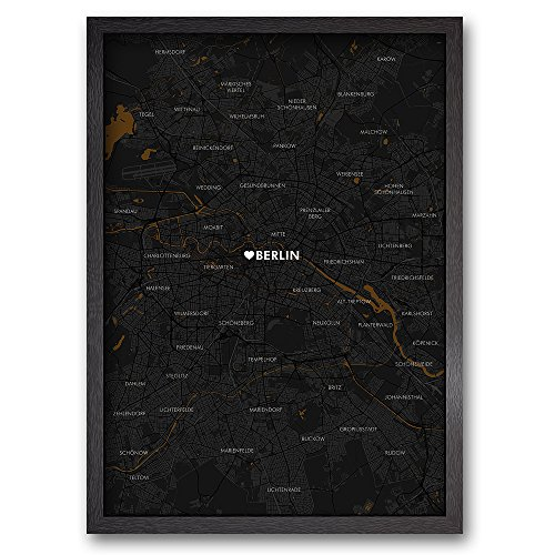 BERLIN CITY MAP - Limitierter Kunstdruck - fertig gerahmt - Holzrahmen schwarz - 89 x 64 A1 - Karte Stadtplan Stadtteile Stadtviertel Spandau Tempelhof Kreuzberg Marzahn Pankow Charlottenburg