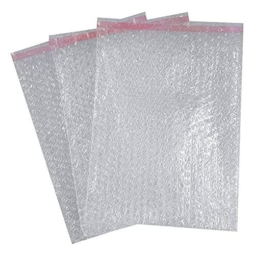 Bolsas de plástico de burbujas con solapa adhesiva, espuma de embalaje 235x295 mm, bolsas acolchadas para proteger artículos frágiles, vasos, porcelana, cristal, suministros de envío (50)
