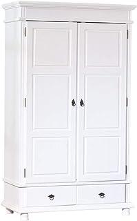 Inter Link Armoire penderie rustique à portes battantes certifiée FSC Pin massif vernis blanc