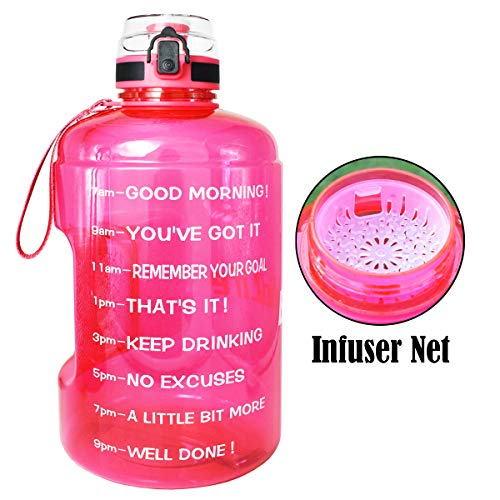 QuiFit Motivational Gallon Water Bottle with Time Marker & Strainer & Handle - Leak-Proof BPA Free Infuser Water Bottle for Fitness Outdoor Sports Enthusiasts (Hot Pink, 1 Gallon)