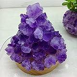 YSJJAXR Piedra de Cristal Natural Amatistas Naturales Cuarzo Noche Luz Cristal Croquete Gemstone Lámpara de Mesa Meditación Curación de Espécimen Decoración para el hogar