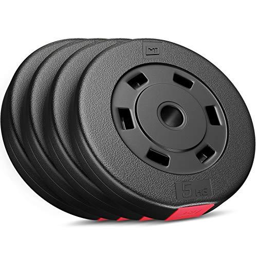 Hop-Sport Hantelscheiben-Set 5, 10, 20, 30 kg Kunststoff Gewichte 30 mm Hanteln Gewichtsscheiben (4 x 5 kg)