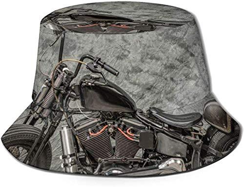ZharkLI Hut Harley Davidson Motorrad Sun Fisherman Cap Outdoor Hut UV Sonnenschutz Hut Faltbar Leicht Atmungsaktiv Reise Cap Schwarz