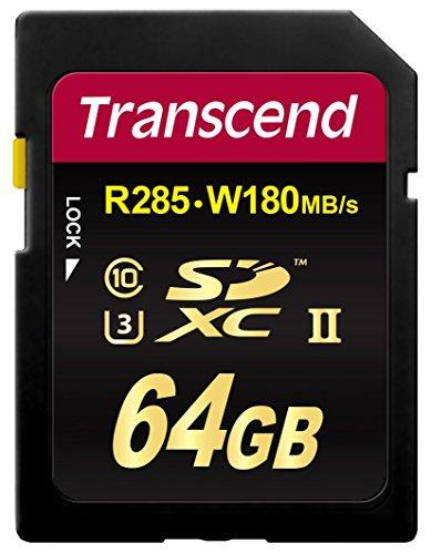 Transcend 64GB SDXC UHS-II U3 64GB SDXC UHS-II Clase 10 Memoria Flash - Tarjeta de Memoria (64 GB, SDXC, Clase 10, UHS-II, 285 MB/s, Negro)