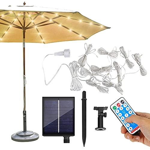 Iluminación solar para sombrilla, cadena de luces para sombrilla de color blanco cálido, 104 tiras de luz LED, con mando a distancia, 8 modos, temporizador para patio, exterior e interior