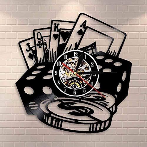 Reloj de pared de vinilo, dados de póquer, arte de pared, juego de fichas de póquer, reloj de pared, sala de póquer, decoración de pared, reloj de vinilo, reloj de pared, regalo para jugador de póque