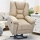 YODOLLA Electric Power Lift Chair Heated Vibration Massage Chair,Beige Recliner for Elder People with Side Pockets,USB Port & Massage Remote Control,Beige