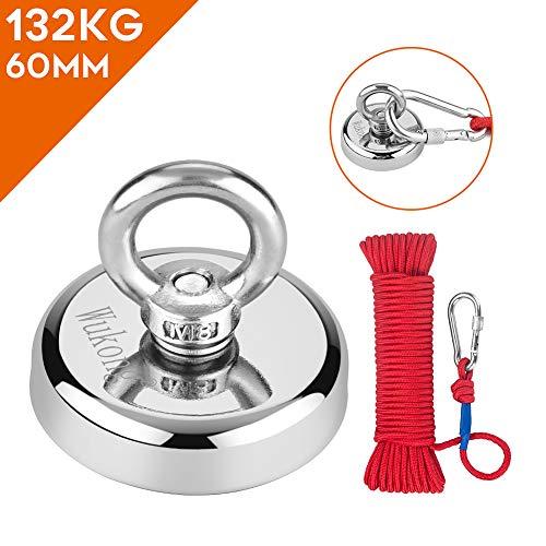 Wukong 132Kg Haftkraft Neodym Ösenmagnet Magnete mit 20m Seil, N52 Super Stark Magnet Perfekt zum Magnet Angel Magnetfischen - Ø 60mm mit Öse Neodymium Topfmagnet