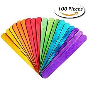 ac67ec9a54dde Paxcoo 100 piezas de madera del arte Jumbo Palillos coloreados por un  programa de la boda del ventilador manijas y otras artesanías de maderaPaxcoo  100 ...