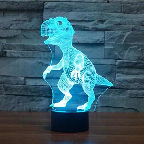 3D Illusion Lampe LED Nachtlicht, EASEHOME Optische 3D-Illusions-Lampen Tischlampe Nachtlichter 7 Farben Berührungsschalter Schreibtischlampe mit 150cm USB-Kabel Kinder Nachtlampe, Dinosaurier-2