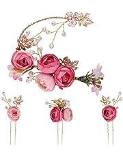 Lurrose 5 sztuk spinek do włosów w kształcie litery U, francuskie grzebienie boczne spinki do włosów, na wesele, akcesoria dla panny młodej druhny (różowe)