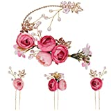 Lurrose 5 pieces U-shaped rose hairpin flower French side combs hair clips wedding accessories for bride bridesmaid (pink)