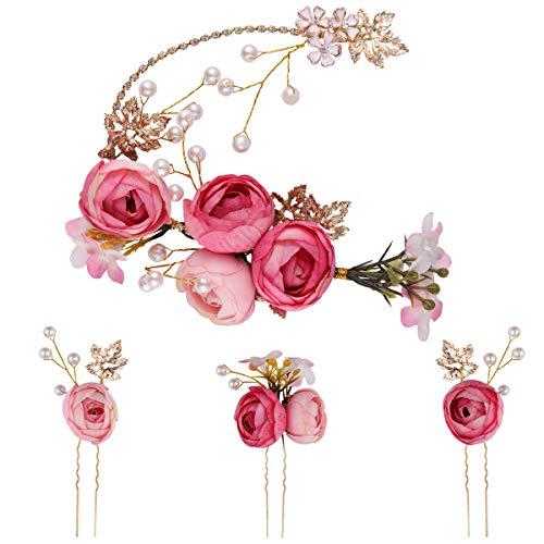 Lurrose 5 Stücke U-förmige Rose Haarnadel Blume Französisch Seitenkämme Haarspangen Hochzeit Zubehör für Braut Brautjungfer (Rosa)