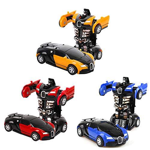 Egosy 3 Stück Transformator Roboter Auto Ferngesteuert Transformers Auto & Robot verwandelbar, Wand Climber Auto mit LED und 360° Rotation, Stunt Auto RC Spielzeugauto für Kinder Kindergeschenk