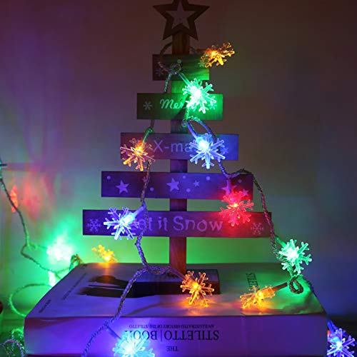 Christmas Snowflake String Lights,Plug in Led Fairy Lights,Waterproof Wonderland Lighted with 8 Lighting Modes for Xmas Home Garden Indoor Outdoor Decor