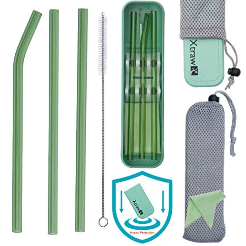 XTRAW Premium Reusable Glass Drinking Straws with Carrying Case and Protective Pouch Bag, Set of 3 with Protective Straw Stand, Cleaning Brush, Cleaning Cloth, Wheat Straw Plastic Travel Case (Green)
