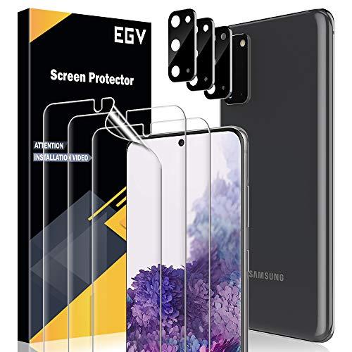 EGV [6 Pack Protector de Pantalla para Samsung Galaxy S20, [6 Pack] Cristal Templado + [3 Pack] Protector de Lente de cámara cámara [Película Protectora de TPU][Alta Definición y Sensibilidad]