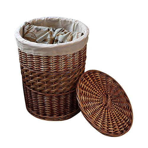 Heding Storage Basket Rattan Elliptical Shape Cotton Lining With Lid Hand Made Moisture Proof Vegetables Kitchen (Color : BROWN, Size : 36X44CM)