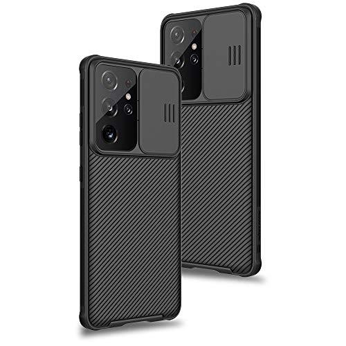 XTCASE Funda para Samsung Galaxy S21 Ultra, Protección de la cámara Carcasa Cubierta de cámara Deslizante Proteger Ultra-Delgado Híbrida PC Anti-Choque Anti-arañazos - Negro
