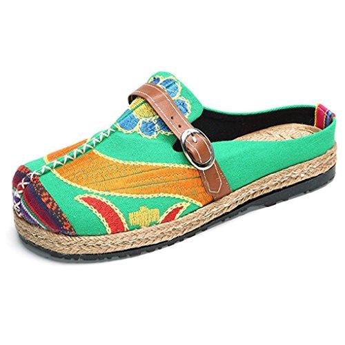 Minetom Walking Slip-On, Sandalias Mules para Mujeres Zapatos De Playa Coloridos Bordados...