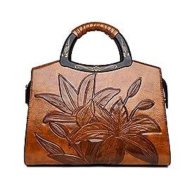 Coolives Sac a Main avec Bandoulière pour Femme Gaufrage de Classique de Fleurs Sac portés épaule avec Sac Manche en…