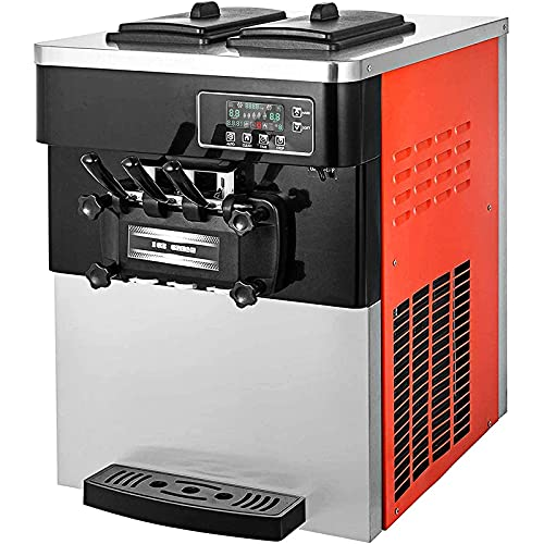 VEVOR 2200W Commercial Ice Cream Machine 20 To 28L or 5.3 To 7.4Galper Hour Soft Serve Ice Cream Maker with LED Display Auto Shut Off Timer 3 Flavors Perfect for Restaurants Snack bar Supermarkets