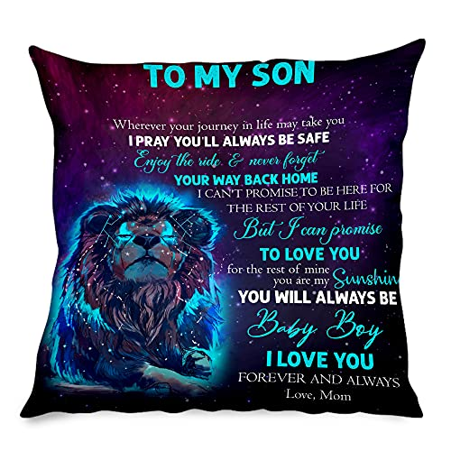 New Personalized Linen Pillow Case (Insert Included) to My Son from Mom - You Will Always Be My Baby Boy - Premium Customized Lion Pillow for Birthday, Mother's Day - 12' x 12'