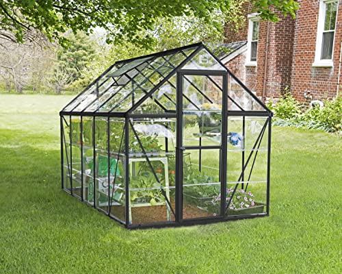 Palram Canopia Harmony Greenhouse - Clear Polycarbonate, Aluminum Frame, Base Included - Grey 6x10ft