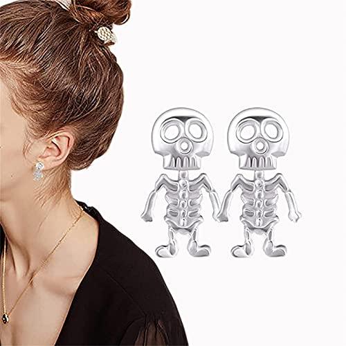 HUILAIBA Punk Style Skull Ear Studs, Halloween Earrings Set, Rock Style Hip Hop Earring, Skeleton Bones and Skull Charm Dangle Earrings, Personalized Unisex Studs 1pcs