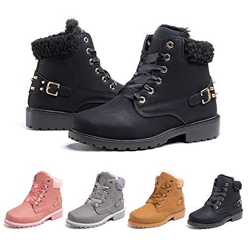 Botas Mujer Invierno Nieve de Cuero PU Zapatos Planas Calentar Piel Forro...