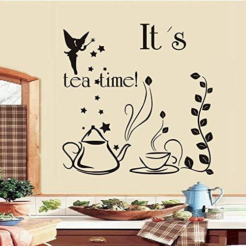 Sanzangtang Dit is Tee Tijdsprookjes met toverstaf theepot en kopje creatieve design muursticker keuken sticker wooncultuur restaurant decoratie
