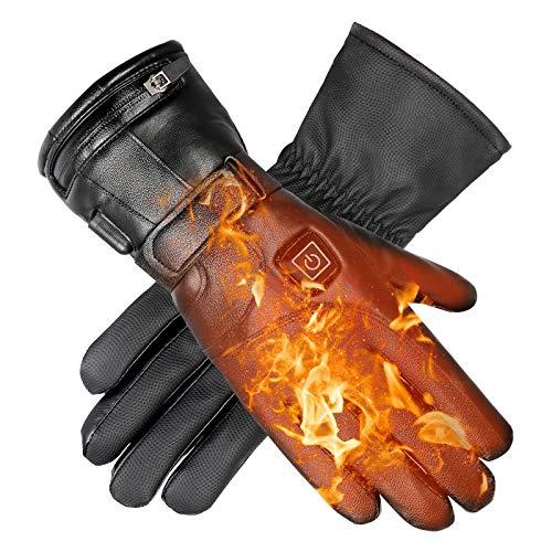 upstartech Beheizte Handschuhe 4000mAh 7.4V Wiederaufladbar Batterie 3 Stufen Einstellbarer Temperatur Warme Handschuhe für das Radfahren, Motorrad, Wandern Skitouren