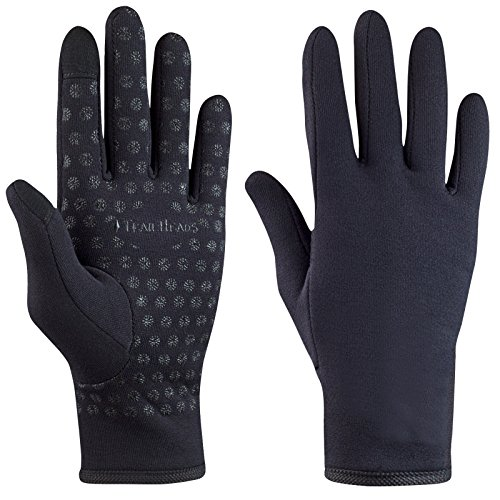 TrailHeads Women's Running Gloves | Touchscreen Gloves | Power Stretch Winter Running Accessories (solid black, small)