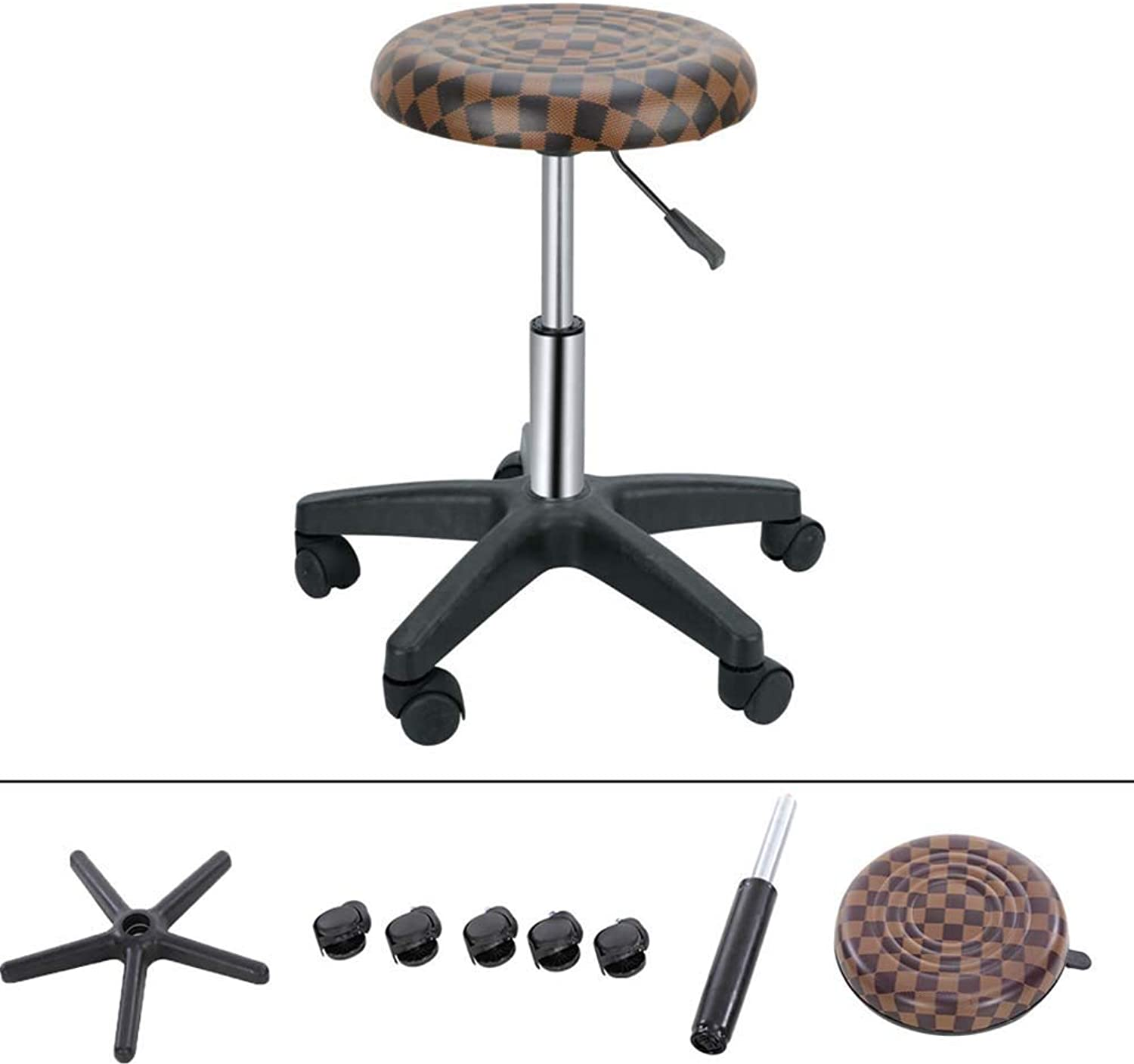 Wjq Swivel Stool Rolling PU Leather Cushion 360 Degree redation Adjust Height Freely Office Stool, Beauty Salon Stool, Medical Stool