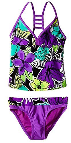 ZeroXposur Girls' Hula Haku Tankini Two Piece Swimsuit with Short (16)