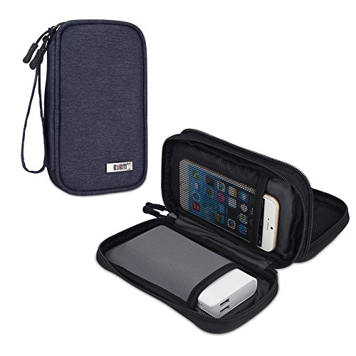 BUBM Protective Travel Case Carrying Bag for Power Bank, Phone, Wall Charger, USB Cables and Other Phone Accessories, Dark Blue