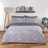 Dreamscene, set copripiumino reversibile con federa, motivo Galaxy Stars, colore: grigio argento