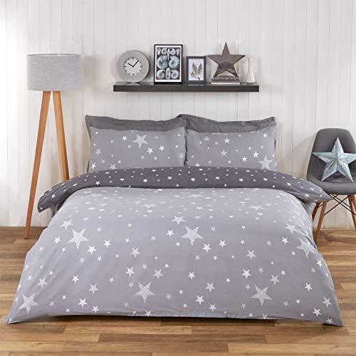 Dreamscene Galaxy Stars - Juego de Cama Reversible con Funda de edredón y Funda de Almohada, Color Gris Plateado, para Cama Individual