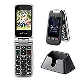 Artfone Teléfono celular Senior con tapa desbloqueada, teclas grandes, botón SOS, alto volumen, radio FM, cámara para ancianos (pantalla de 2.4 '', SIM dual, antorcha, estación de carga)