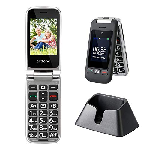Seniorenhandy, artfone Großtasten-Klapphandy mit Ladestation und ohne Vertrag, Dual SIM Rentner Handy mit 2.4 Zoll Farbdisplay, Aussendisplay, Notruftaste, Taschenlampe, FM Radio, Dual-AAC Empfänger