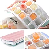 Ice Cube Trays 3 Packs Flexible Silicone Ice Trays with Spill-Resistant Lids Easy Release Ice Trays...