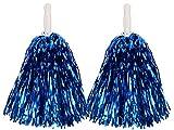 2 Pompones Métalicos | Azul | de Animadora | Cheerleader | Pom Poms | Chica | Accesorio para Disfraz | Despedida de Soltera