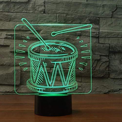 Luz de noche de 3D para niños Lámpara de luz nocturna Musica musica lámpara de escritorio creativa para cumpleaños Con interfaz USB, cambio de color colorido