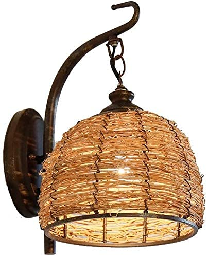 Antieke Rotan Wandlamp Klassieke Amerikaanse Smeedijzeren Lantaarn Wandkandelaar E27 Art Deco Verlichting Wandlamp Voor Eetkamer Muur Woonkamer Gang Nachtkastje Woonkamer Schuur (Afmeting: 1 Stuks)