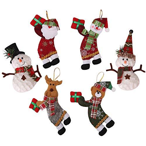6 Pièces Ornements d'arbre de Noël, Pendentifs de Sapin de Noël avec Père Noël, Renne et Bonhomme, Pendentifs Décoration d'arbre de Noël, Artisanat Ornement de Sapin de Noel Suspendu