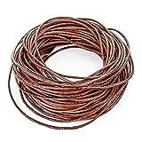RUBY - m Cuerda de piel redonda Ø 2 mm, tiras de cuero, cordón cuero para collar, pulsera, abalorios, bisutería y variedad de manualidades, longitud seleccionable (Marrón, 20 Metros)