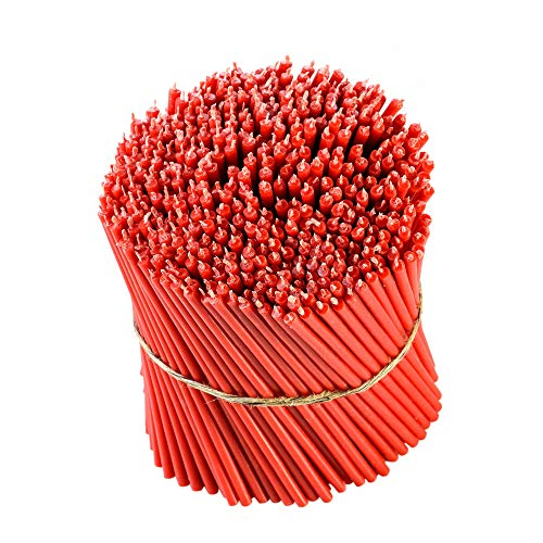 Danilovo Beeswax Taper Candles (Red) - Orthodox Church Candle Tapers for Prayer, Ritual, Christmas - No Soot, Dripless, Tall, Bendable, N120, Height 16 cm, Ø 5,4 mm (50 pcs - 167 g)