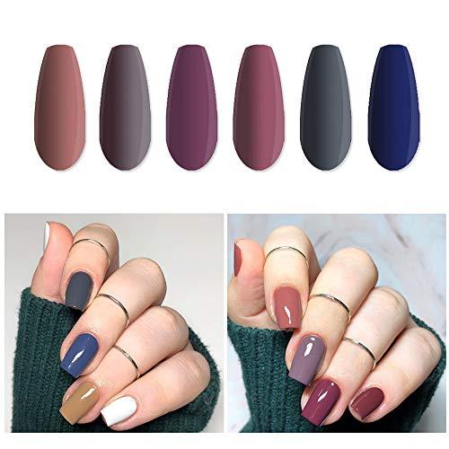 Vishine Fall-Winter Gel Nail Polish Set - 6 Colors Grey Purple Gel Polish Kit Nail Gel Polish Set, Soak Off UV LED Nail Gel Required, 8ml Each Bottle Gel Nail Art
