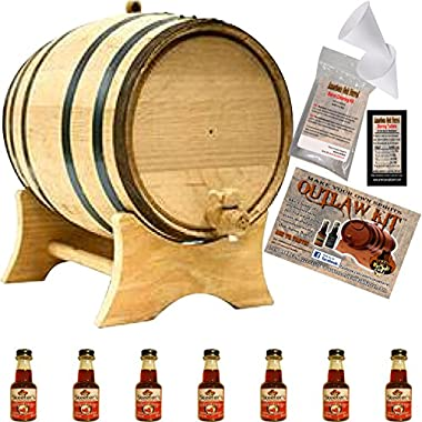 Outlaw Kit From American Oak Barrel - Make Your Own Cherry Bourbon (5 Liter, Natural Oak With Black Hoops)