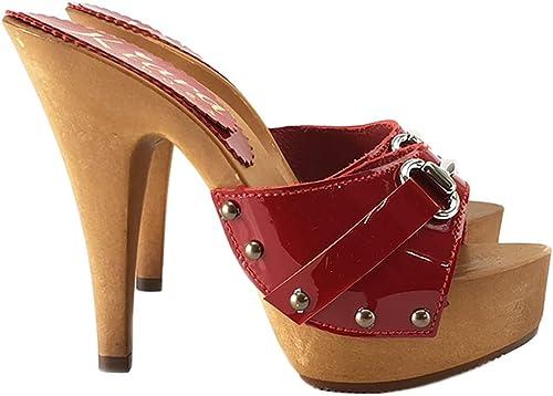 Zueco en Cuero rojo tacón 13 cm con Accesorio - K93013-rojo-VERN